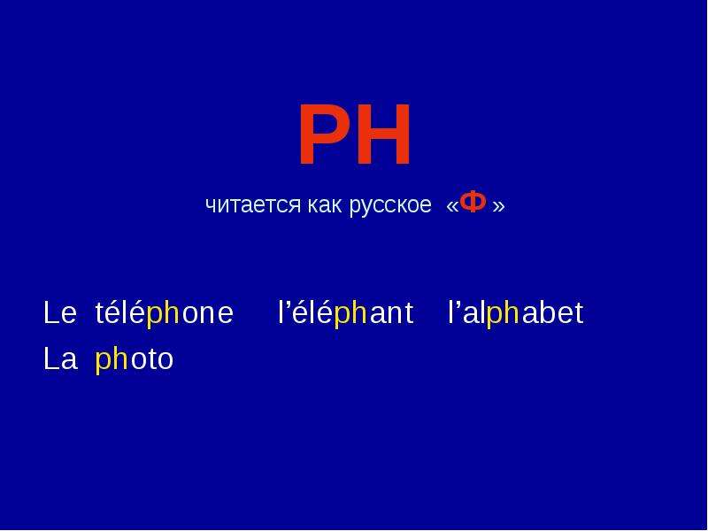 PH читается как русское «Ф » Le téléphone l'éléphant l'alphabet La photo
