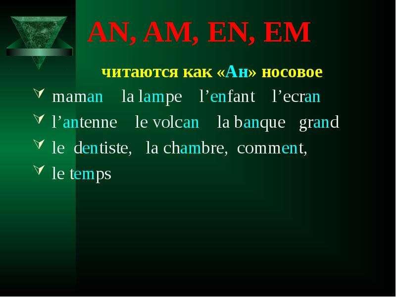 AN, AM, EN, EM читаются как «Ан» носовое maman la lampe l'enfant l'ecran l'antenne le volcan la banq