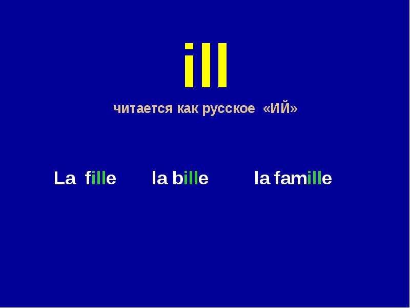 ill читается как русское «ИЙ» La fille la bille la famille