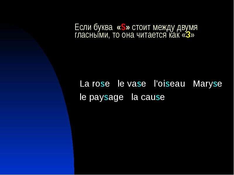 Если буква «S» стоит между двумя гласными, то она читается как «З» La rose le vase l'oiseau Maryse l