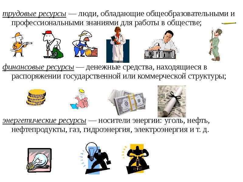 трудовые ресурсы — люди, обладающие общеобразовательными и профессиональными знаниями для работы в о