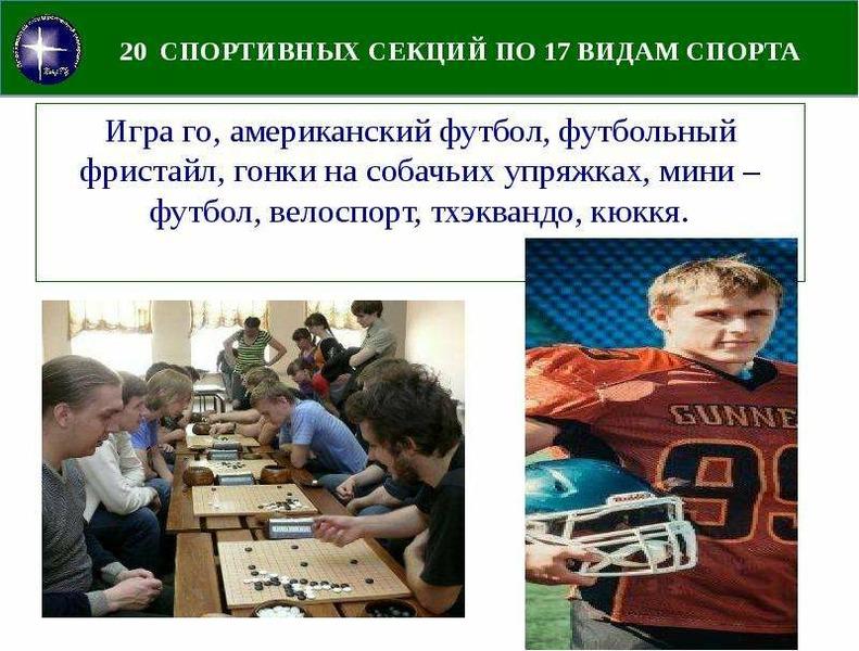 20 СПОРТИВНЫХ СЕКЦИЙ ПО 17 ВИДАМ СПОРТА Игра го, американский футбол, футбольный фристайл, гонки на
