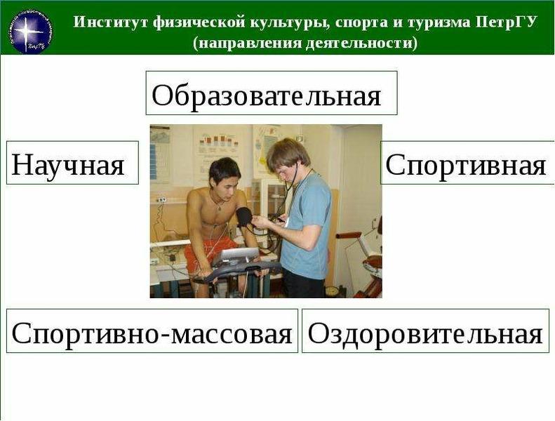 Институт физической культуры, спорта и туризма ПетрГУ (направления деятельности)