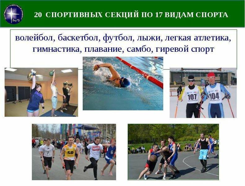 20 СПОРТИВНЫХ СЕКЦИЙ ПО 17 ВИДАМ СПОРТА волейбол, баскетбол, футбол, лыжи, легкая атлетика, гимнасти