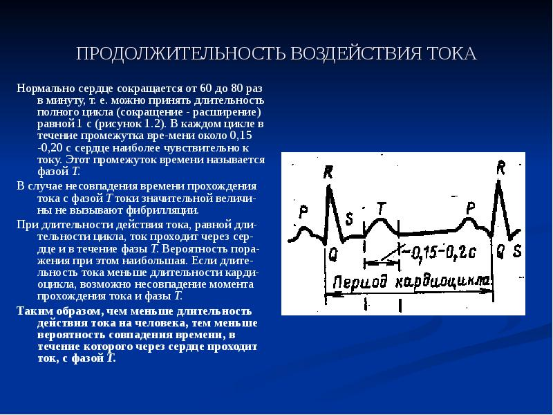 ПРОДОЛЖИТЕЛЬНОСТЬ ВОЗДЕЙСТВИЯ ТОКА Нормально сердце сокращается от 60 до 80 раз в минуту, т. е. можн