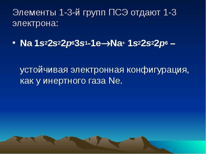 Элементы 1-3-й групп ПСЭ отдают 1-3 электрона: Na 1s22s22p63s1-1eNa+ 1s22s22p6 – устойчивая электро