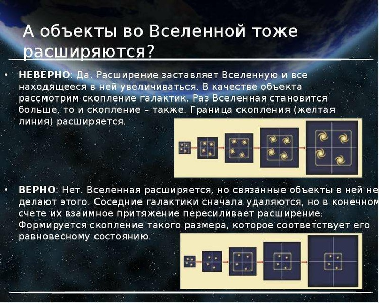 А объекты во Вселенной тоже расширяются? НЕВЕРНО: Да. Расширение заставляет Вселенную и все находяще