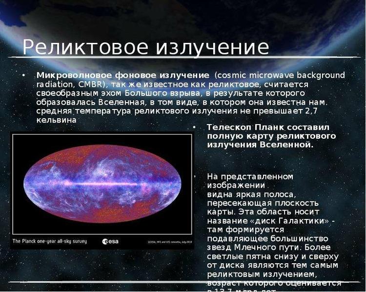 Реликтовое излучение Микроволновое фоновое излучение (cosmic microwave background radiation, CMBR),