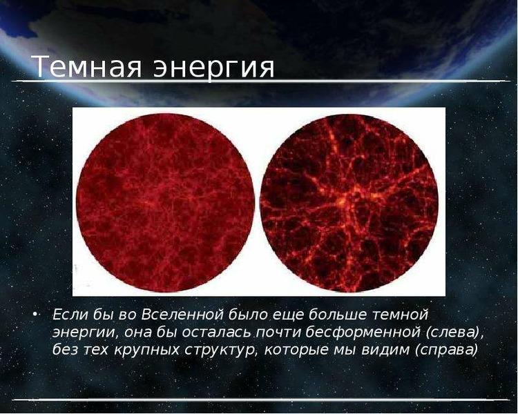Темная энергия Если бы во Вселенной было еще больше темной энергии, она бы осталась почти бесформенн