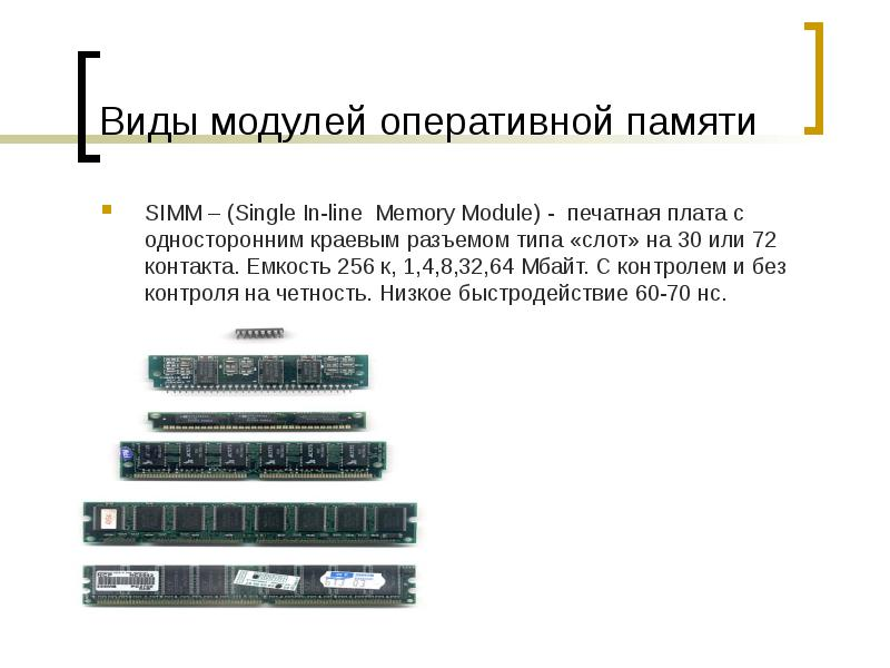 Виды модулей оперативной памяти SIMM – (Single In-line Memory Module) - печатная плата с односторонн