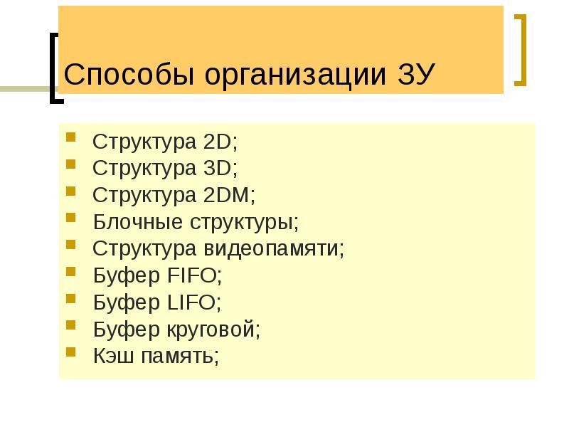 Способы организации ЗУ Структура 2D; Структура 3D; Структура 2DM; Блочные структуры; Структура видео