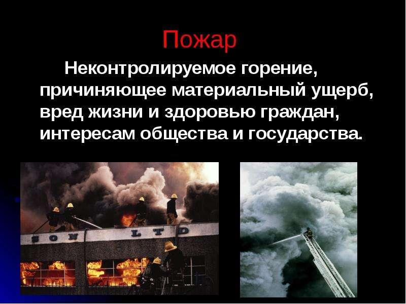 Пожар Неконтролируемое горение, причиняющее материальный ущерб, вред жизни и здоровью граждан, интер