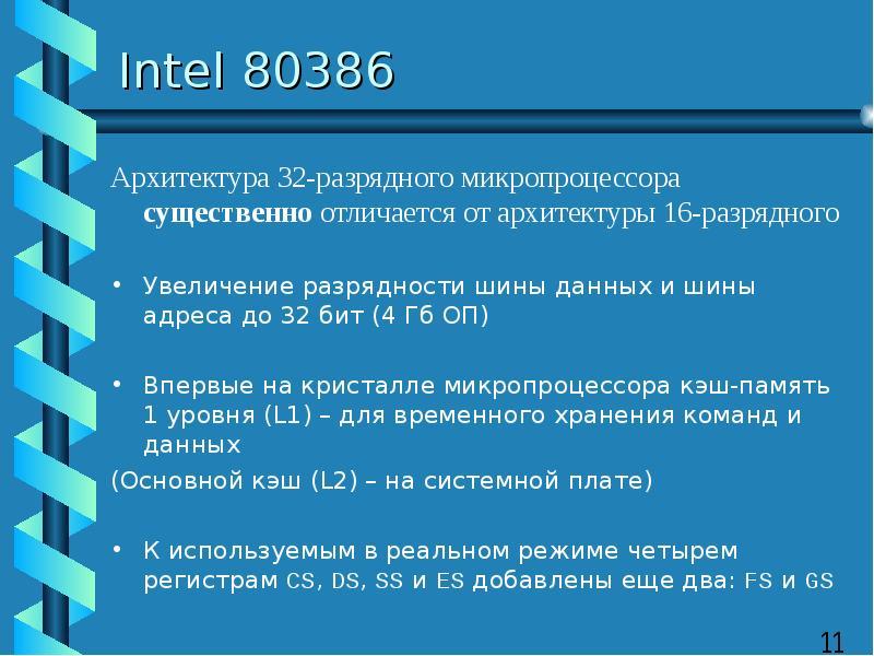 Intel 80386 Архитектура 32-разрядного микропроцессора существенно отличается от архитектуры 16-разря