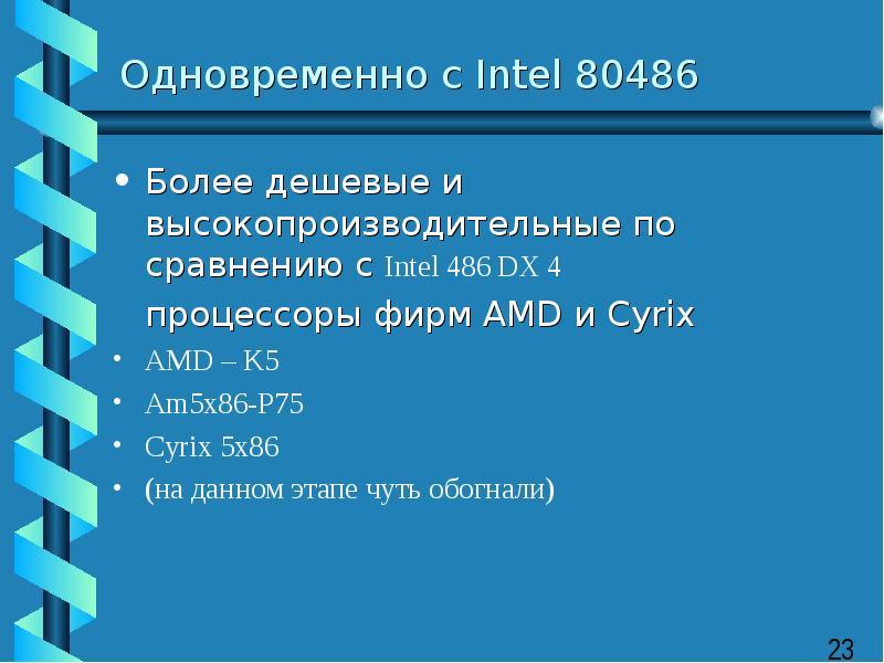 Одновременно с Intel 80486 Более дешевые и высокопроизводительные по сравнению с Intel 486 DX 4 проц