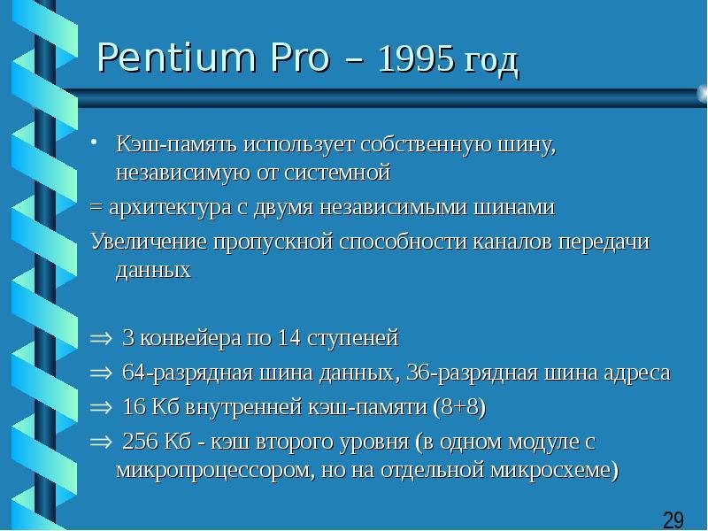 Pentium Pro – 1995 год Кэш-память использует собственную шину, независимую от системной = архитектур