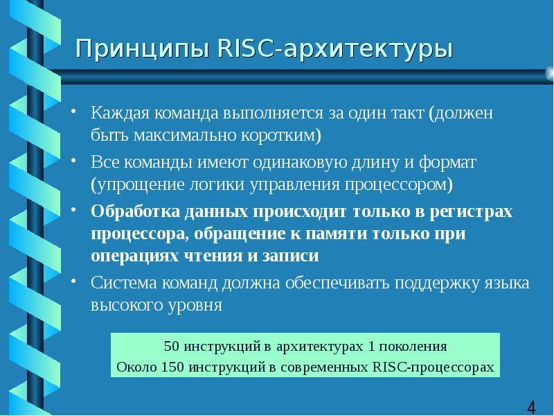 Принципы RISC-архитектуры Каждая команда выполняется за один такт (должен быть максимально коротким)