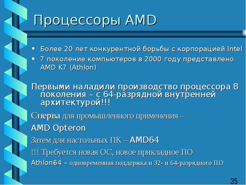 Процессоры AMD Более 20 лет конкурентной борьбы с корпорацией Intel 7 поколение компьютеров в 2000 г