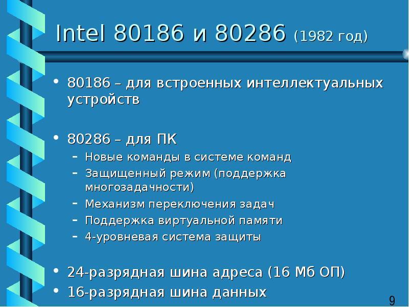 Intel 80186 и 80286 (1982 год) 80186 – для встроенных интеллектуальных устройств 80286 – для ПК Новы