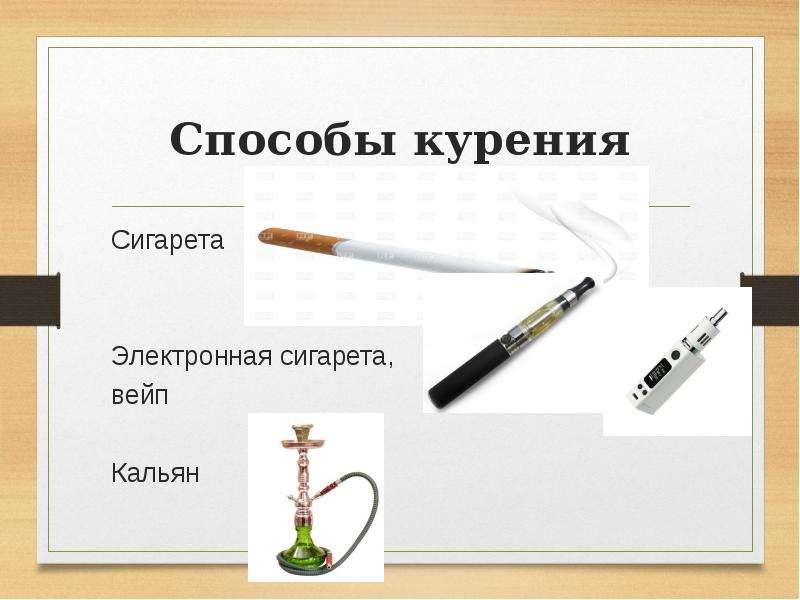 Способы курения Сигарета Электронная сигарета, вейп Кальян