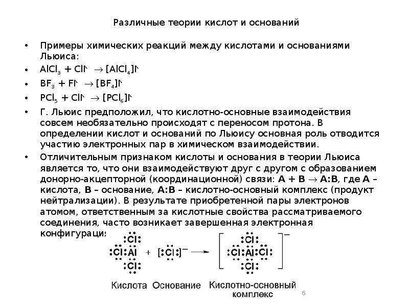 Различные теории кислот и оснований Примеры химических реакций между кислотами и основаниями Льюиса: