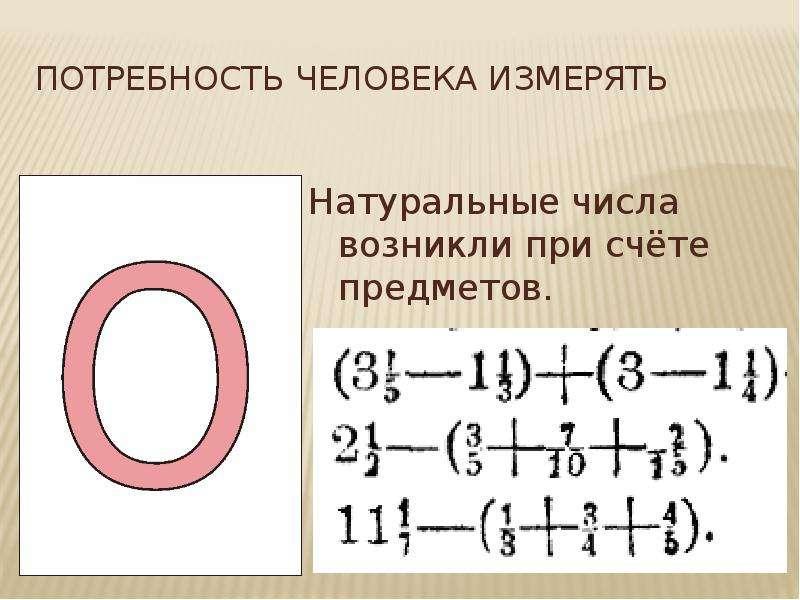 потребность человека измерять Натуральные числа возникли при счёте предметов.