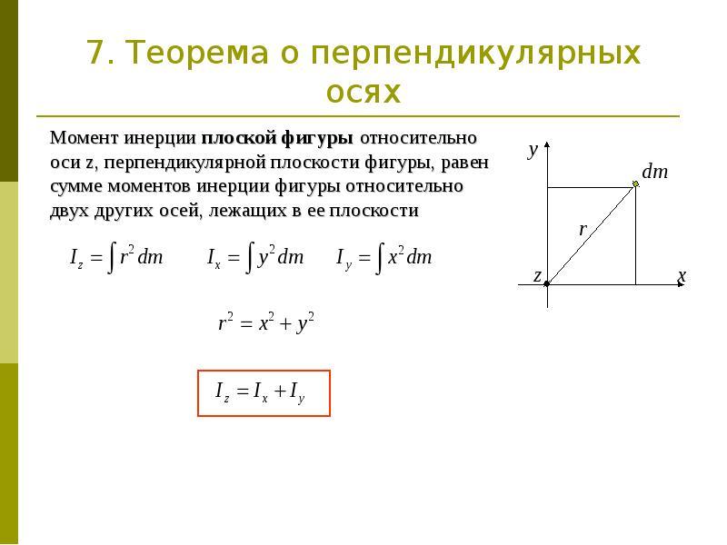 7. Теорема о перпендикулярных осях