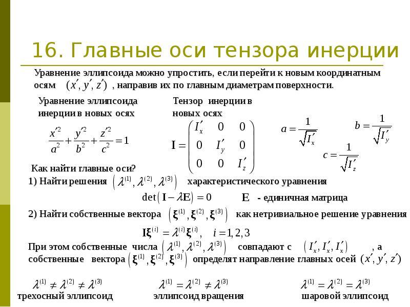 16. Главные оси тензора инерции