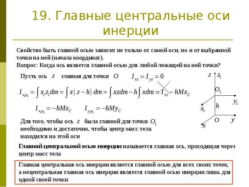 19. Главные центральные оси инерции