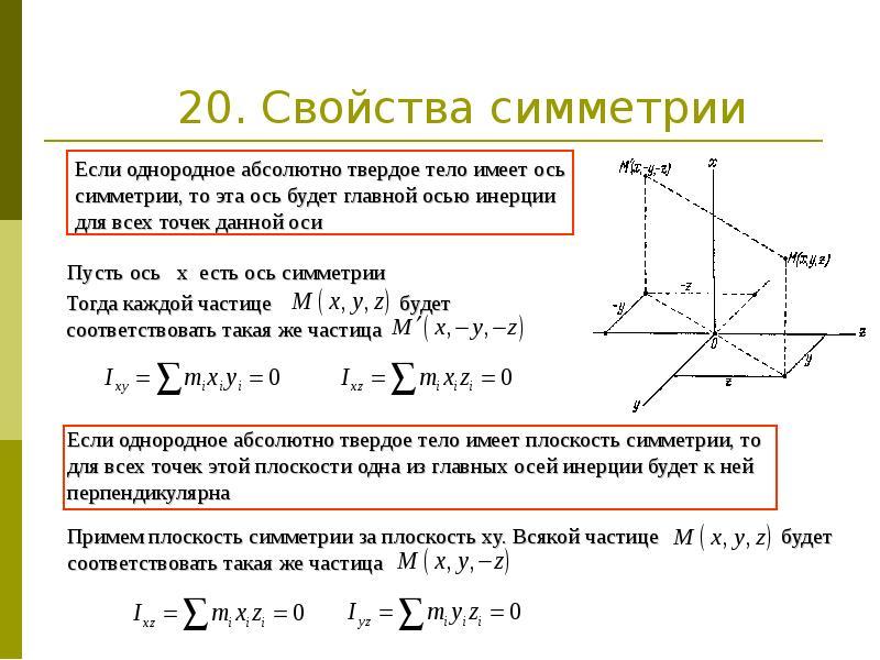 20. Свойства симметрии
