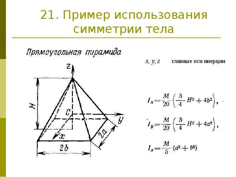 21. Пример использования симметрии тела