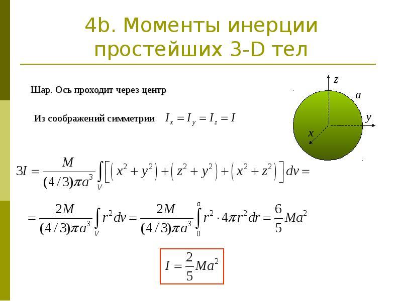 4b. Моменты инерции простейших 3-D тел