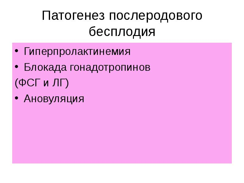 Патогенез послеродового бесплодия Гиперпролактинемия Блокада гонадотропинов (ФСГ и ЛГ) Ановуляция