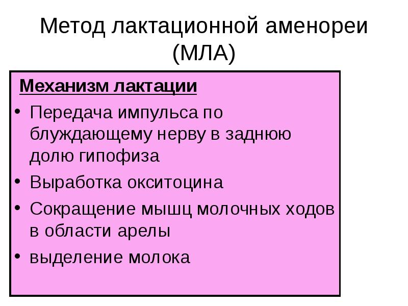 Метод лактационной аменореи (МЛА) Механизм лактации Передача импульса по блуждающему нерву в заднюю