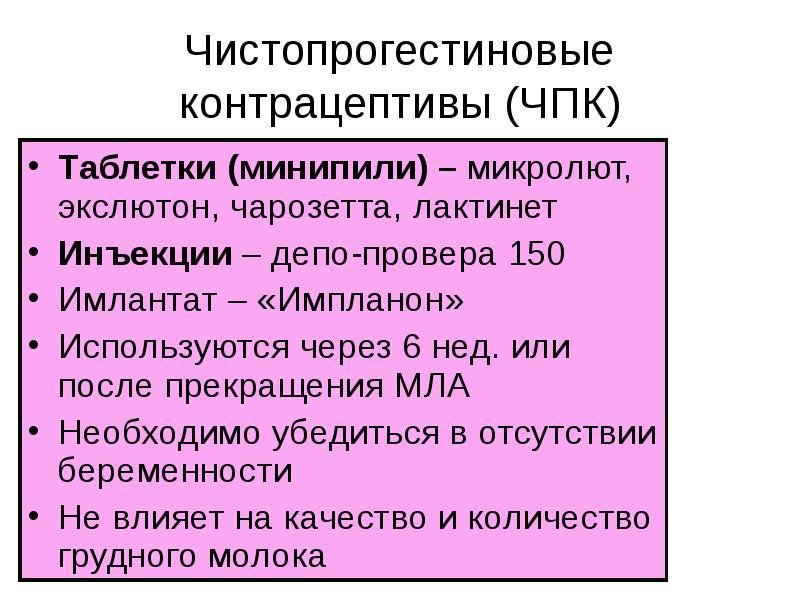 Чистопрогестиновые контрацептивы (ЧПК) Таблетки (минипили) – микролют, экслютон, чарозетта, лактинет