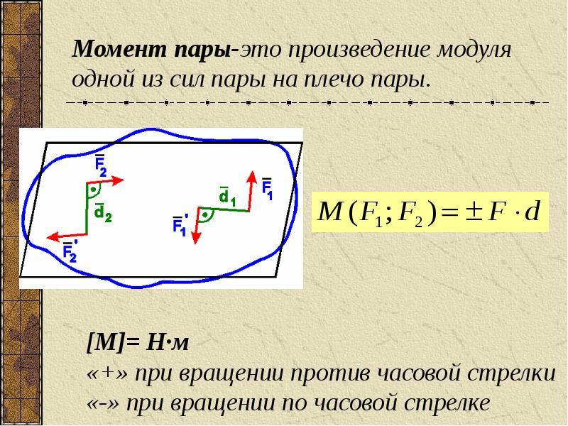 Момент пары-это произведение модуля одной из сил пары на плечо пары.
