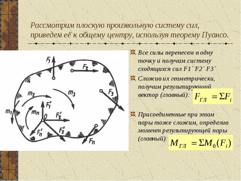 Рассмотрим плоскую произвольную систему сил, приведем её к общему центру, используя теорему Пуансо.