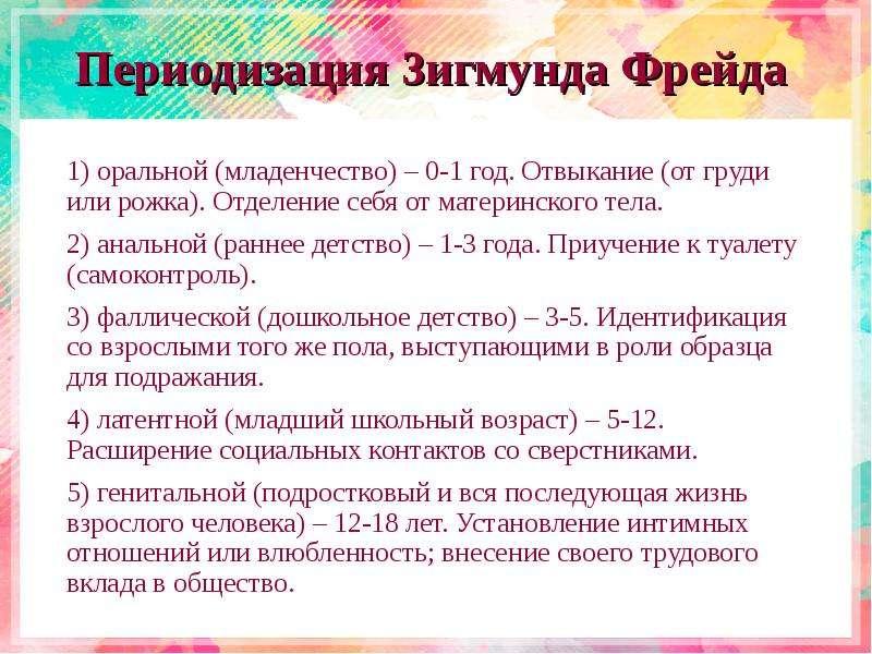 Периодизация 3игмунда Фрейда 1) оральной (младенчество) – 0-1 год. Отвыкание (от груди или рожка). О