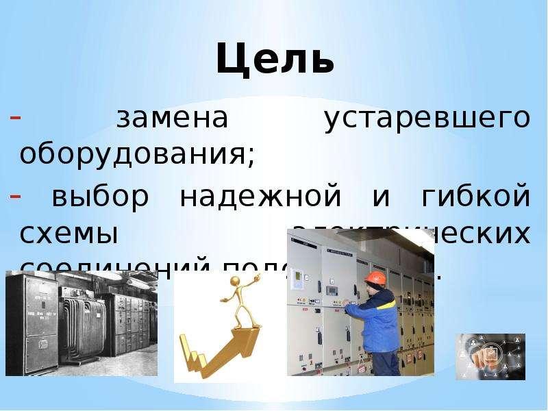 Цель замена устаревшего оборудования; выбор надежной и гибкой схемы электрических соединений подстан