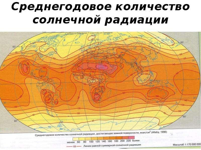 Среднегодовое количество солнечной радиации