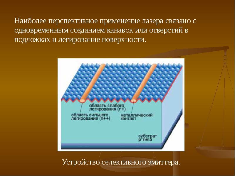 Наиболее перспективное применение лазера связано с одновременным созданием канавок или отверстий в п