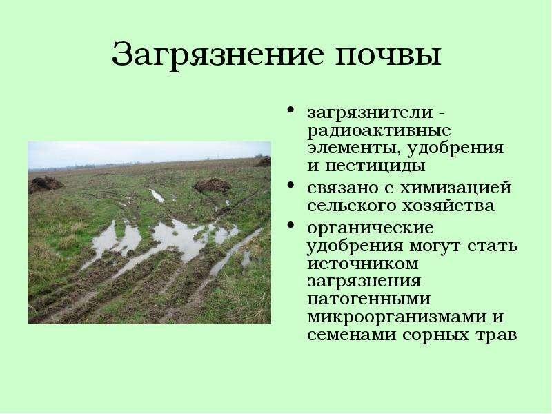 Загрязнение почвы загрязнители - радиоактивные элементы, удобрения и пестициды связано с химизацией