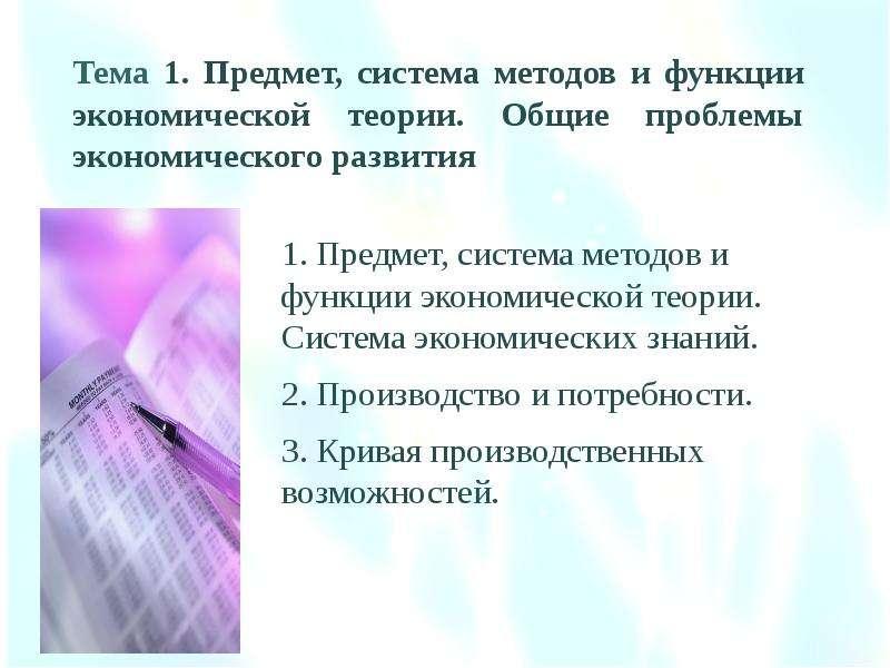 Тема 1. Предмет, система методов и функции экономической теории. Общие проблемы экономического разви