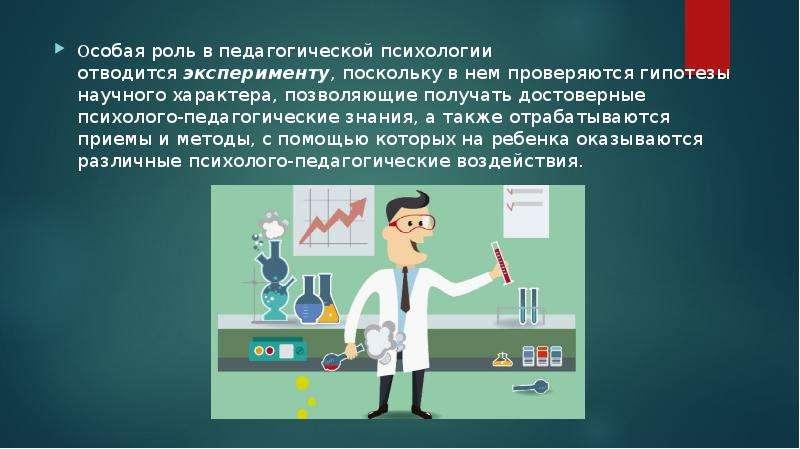 Особая роль в педагогической психологии отводится эксперименту, поскольку в нем проверяются гипотезы