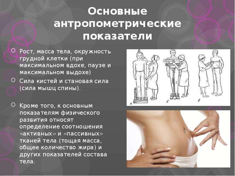 Основные антропометрические показатели Рост, масса тела, окружность грудной клетки (при максимальном