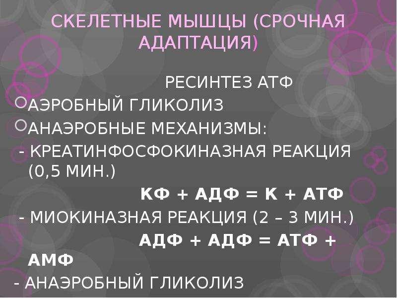 СКЕЛЕТНЫЕ МЫШЦЫ (СРОЧНАЯ АДАПТАЦИЯ) РЕСИНТЕЗ АТФ АЭРОБНЫЙ ГЛИКОЛИЗ АНАЭРОБНЫЕ МЕХАНИЗМЫ: - КРЕАТИНФО