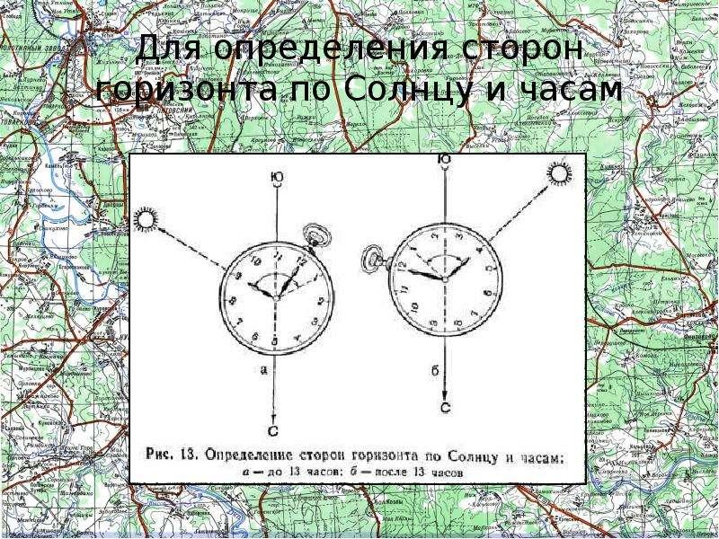 Для определения сторон горизонта по Солнцу и часам