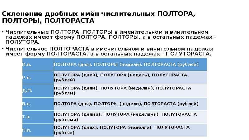 Склонение дробных имён числительных ПОЛТОРА, ПОЛТОРЫ, ПОЛТОРАСТА Числительные ПОЛТОРА, ПОЛТОРЫ в име