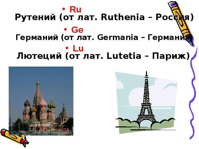Рутений (от лат. Ruthenia – Россия) Рутений (от лат. Ruthenia – Россия) Германий (от лат. Germania –