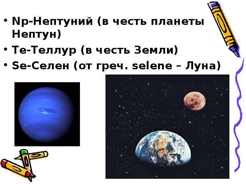 Np-Нептуний (в честь планеты Нептун) Np-Нептуний (в честь планеты Нептун) Те-Теллур (в честь Земли)