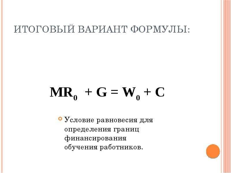 Итоговый вариант формулы: MR0 + G = W0 + C